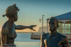 Statues beside Cardiff Bay on Mermaid Quay