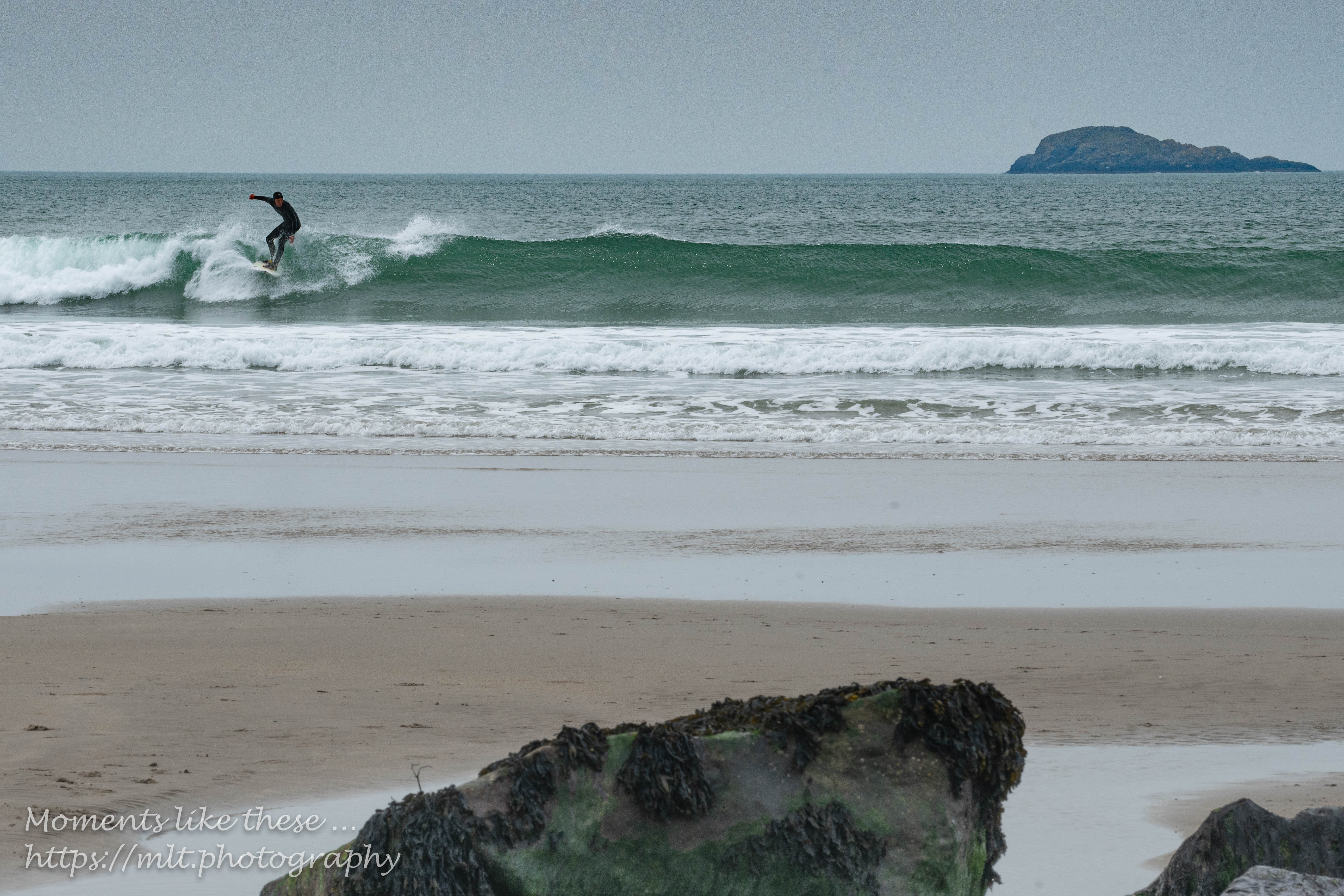 Surfing at Whitesands Bay