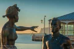 Statues beside Cardiff Bay on Mermaid Quay